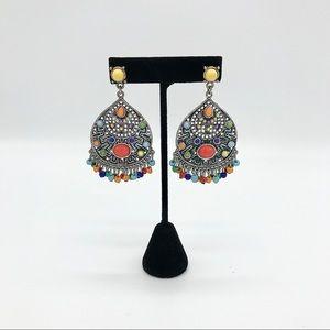 Silvertone Rainbow Chandelier Post Earrings Boho